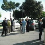Gervasio con gli ospiti appena arrivati a Castelfidardo